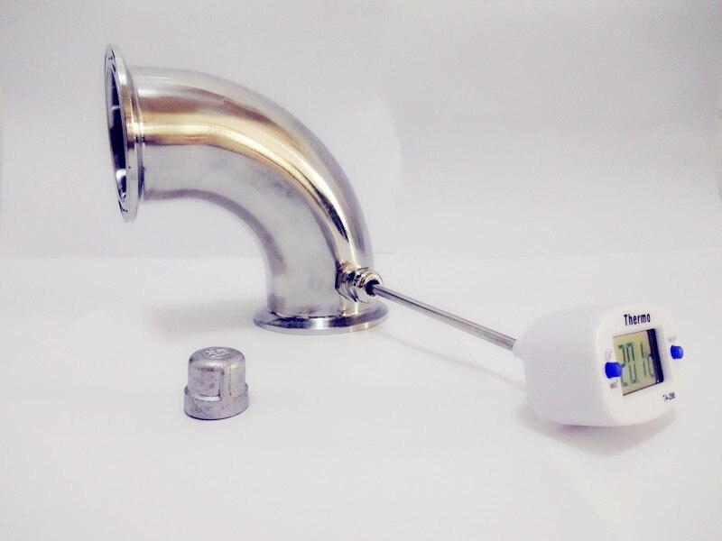"""Envío gratis 3 """"(76mm) Curva de tubo de 90 grados con boquilla térmica y enchufe, conexión de tubería de codo de tres abrazadera, SS304"""