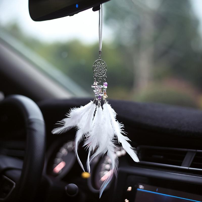 Colgante de coche atrapasueños campanas de viento atrapasueños de plumas para Auto espejo retrovisor colgando decoración niños decoración de la pared del dormitorio
