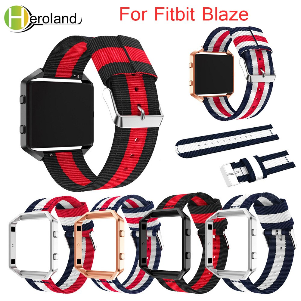 23mm WatchBand For Fitbit Blaze Wristband Fine Woven Nylon Sport Strap + Case Cover Bracelet  Replacement smart Watchstrap belt