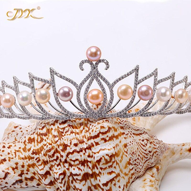 JYX 2019 nuevo 100% Natural Blanco/rosa/lavanda oval de agua dulce corona de perlas Tiara nupcial pelo Tiara corona de fiesta de cumpleaños 9-9,5mm