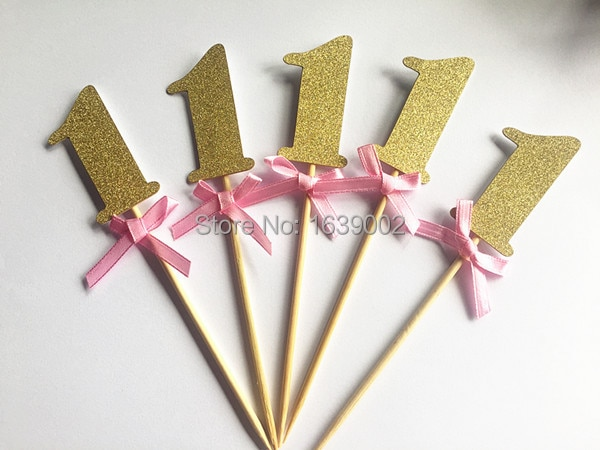 Золотой блеск номер один кекс Топпер с розовой лентой ребенок 1st день рождения торт украшение партии пользу 20 шт./лот Бесплатная доставка