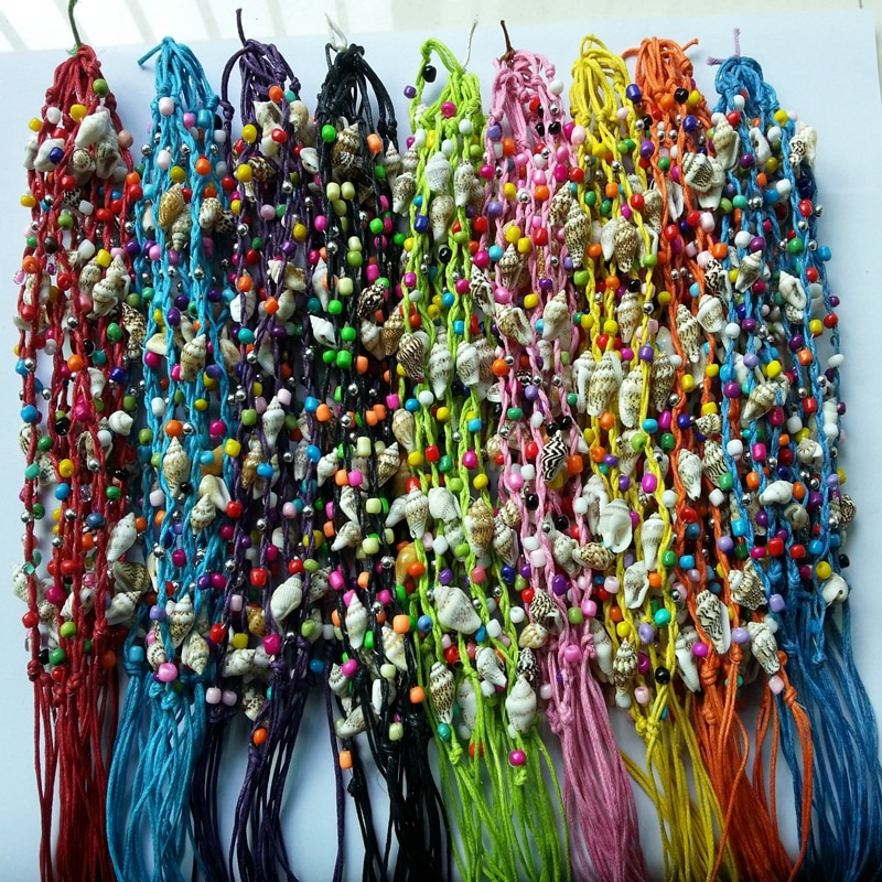 120 قطعة/الوحدة اليدوية البوهيمي البرازيل المنسوجة مضفر قذيفة محارة مطرز الشمع حبل سلسلة الوردية الصداقة سوار