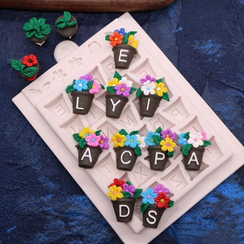 Molde de silicona para maceta con letras DIY, molde de fondant para pastel, molde de pez seco para chocolate, utensilios para hornear L086