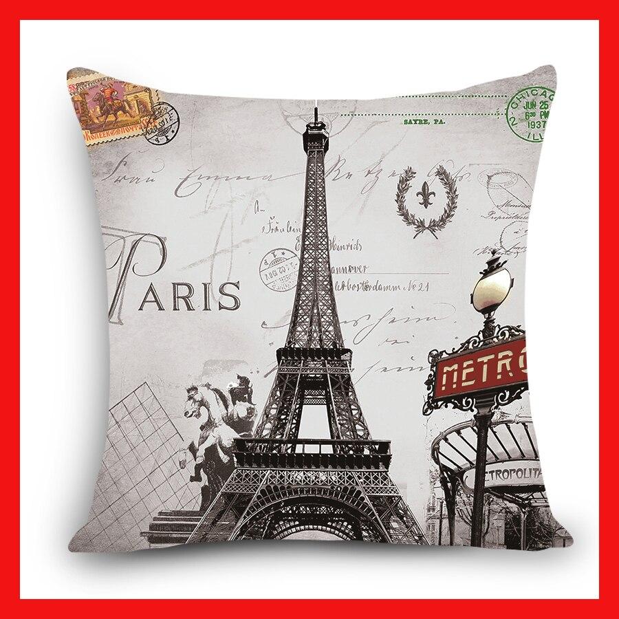 Home Decorative Cushion Cover Scenic London Tower Rome Paris Building Print Polyester Square Cushions Decorative Pillow Case