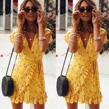 Nouvelle mode Style bohème femmes été décontracté à manches courtes col en V pansement moulante jaune soirée soirée impression courte Mini robe