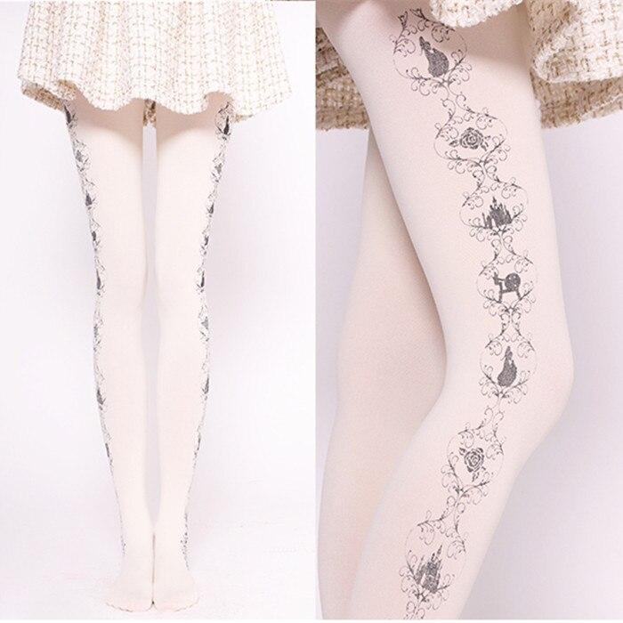 Милые женские Колготки с рисунком, Колготки в стиле Лолиты Харадзюку с принтом замка и розы, белые/черные