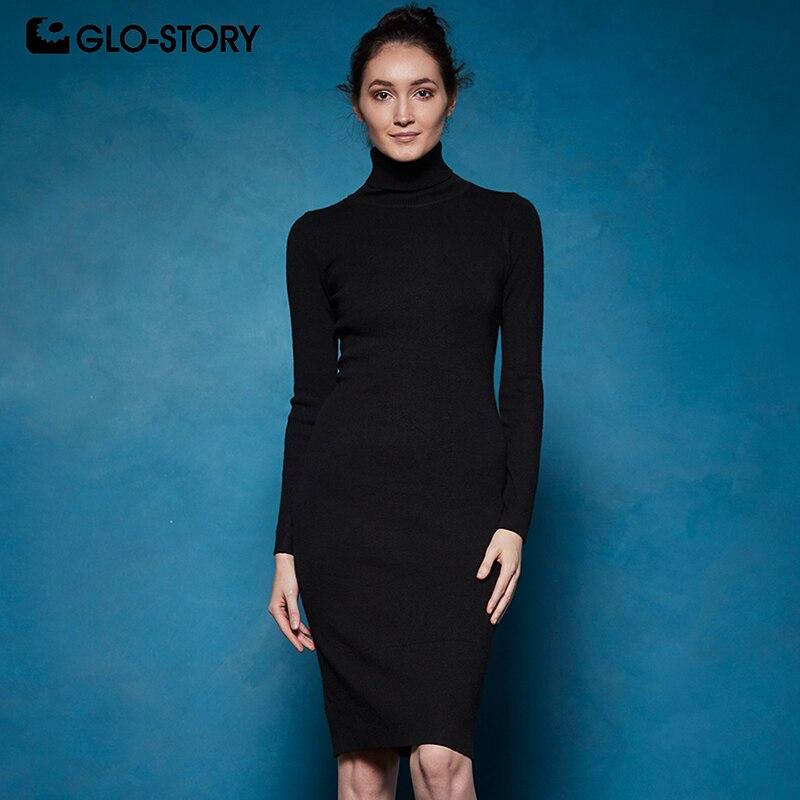GLO-STORY 2019 зимние Для женщин Базовая Свитер с воротником Платье облегающее сексуальное Вечерние элегантное платье Vestidos для женщин WYQ-7628