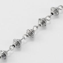 Chaînes de perles en alliage de Style tibétain faites à la main pour colliers Bracelets faisant des bijoux, avec des yeux en fer, 39.3