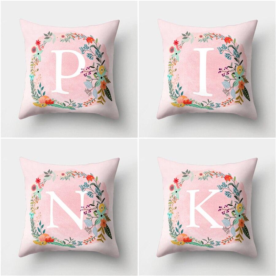 Детское украшение для комнаты, подушка с буквенным принтом, Английский алфавит, полиэфирные Чехлы для дивана, домашнее украшение, розовая н...