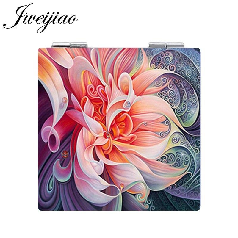 JWEIJIAO hermosas flores en maceta pájaros foto bolsillo espejo Mini plegable cuadrado 1X/2X lupa PU espejo de piel para maquillaje