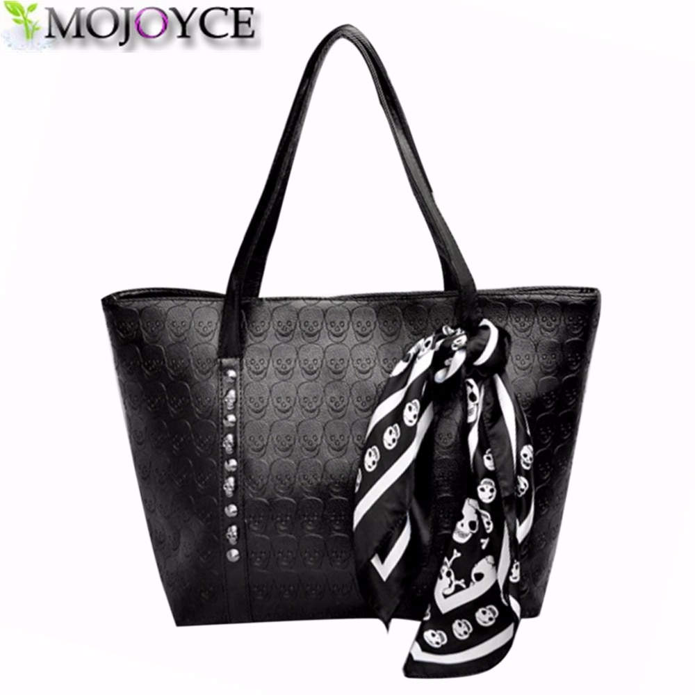 Bolso moderno de piel sintética con calavera para mujer, bolso de hombro liso Punk para mujer, bolsos de mano suaves, bolso grande negro para mujer, bolso principal