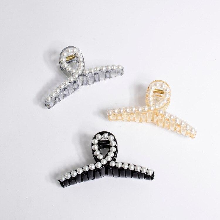 Horquillas de perlas de diamantes de imitación de cristal pinza de pelo perla cangrejo pinzas de pelo de plástico para abrazadera de mujeres resina Barette superior pinza