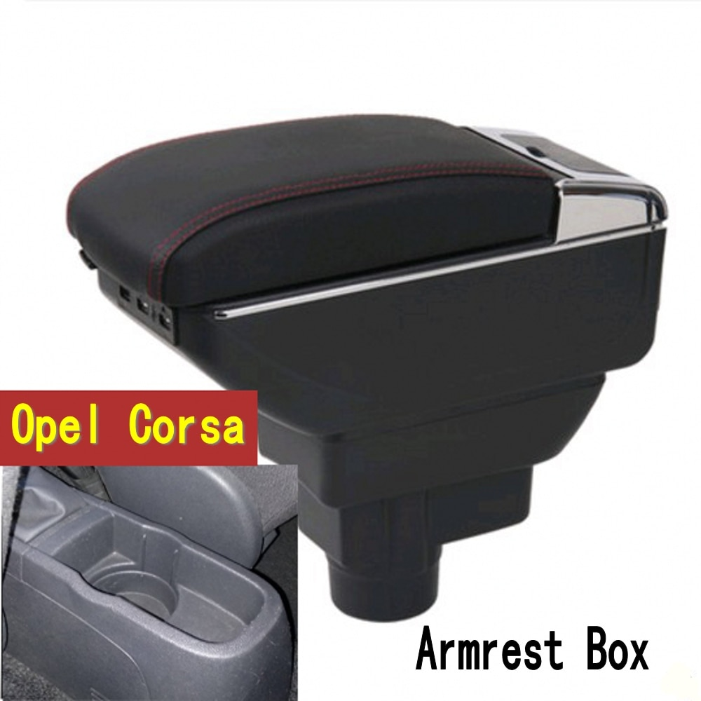Armrest For Opel Vauxhall Corsa D 2006 - 2014 Arm Rest Dual Layer Storage Box Decoration Car Styling 2008 2010