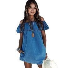 Women Ruffles Elegant Denim Dress Off Shoulder Casual Blue Short Women Summer Dress 2019 Beach Girls Female Party Loose Dresses