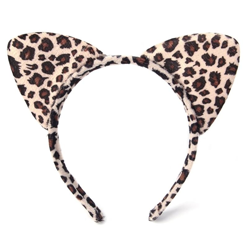 Модная Детская плюшевая леопардовая повязка на голову с кошачьими ушами для костюмированной вечеринки, оптовая продажа