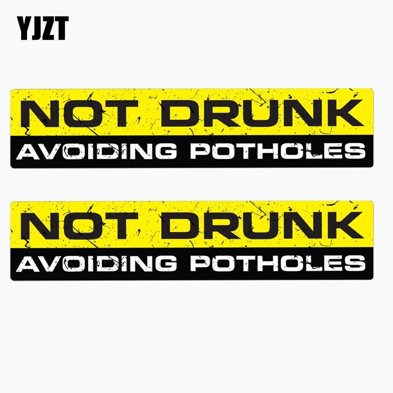YJZT 15CM*3.3CM 2X Personality Car Sticker MOT DRUNK AVOIDING POTHOLES Reflective Decal Motorcycle Accessories C1- 7630