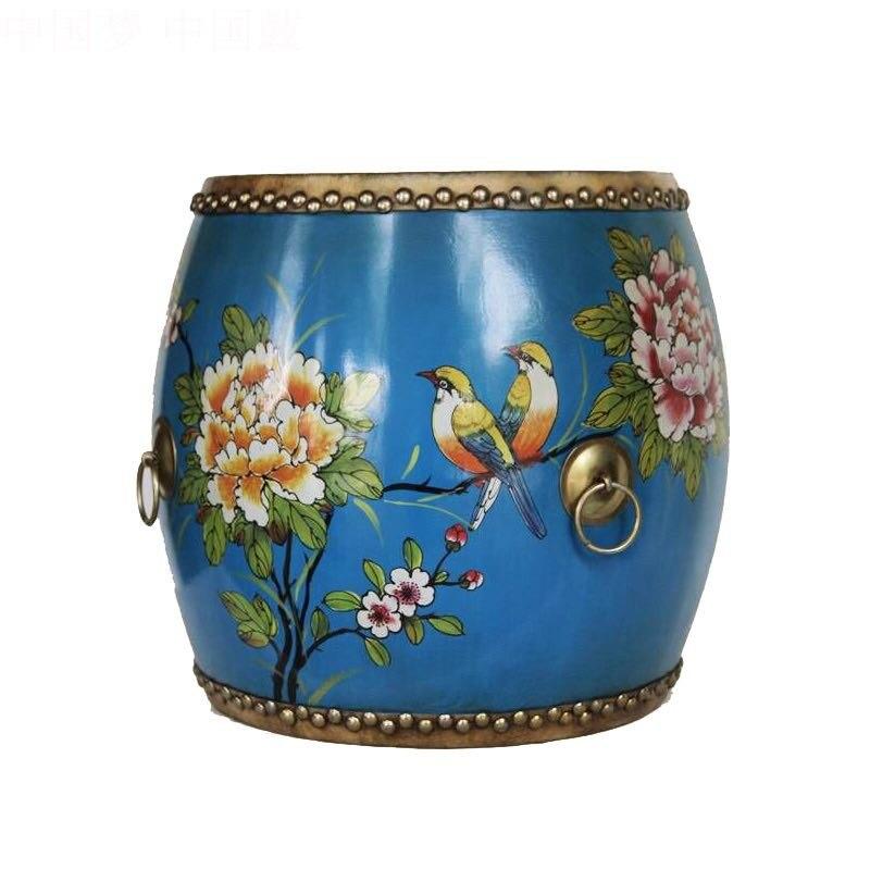 Барабанный стул, Новая китайская мебель, обувь из цельного дерева, стул, кожа, барабан, живопись, сидячий Пирс, Туалетный Стул