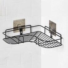 Estante organizador de esquina de ducha de baño de un solo nivel de hierro forjado