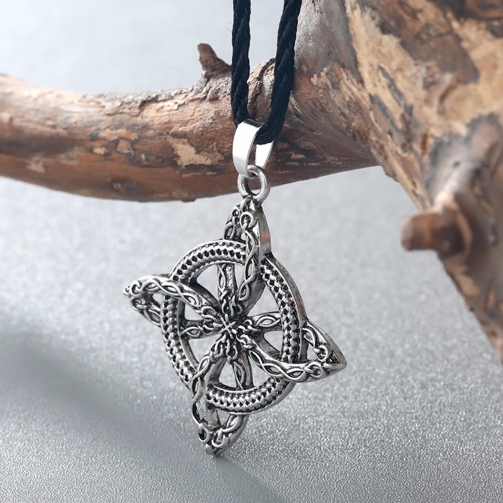CHENGXUN Men Viking Overcoming Grass Slavic Amulet Fern Flower Pendant Necklace Love Knot Amulet Jew