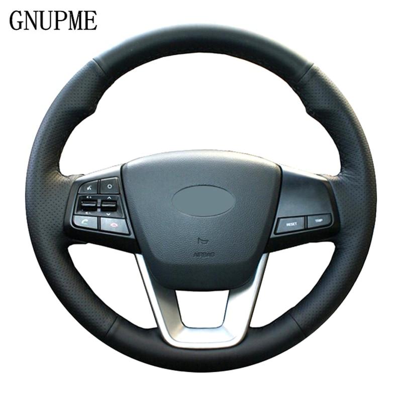 GNUPME, protector negro de Cuero Artificial suave cosido a mano DIY para volante de coche para Hyundai ix25 2014 -2018 Creta 2016 - 2018