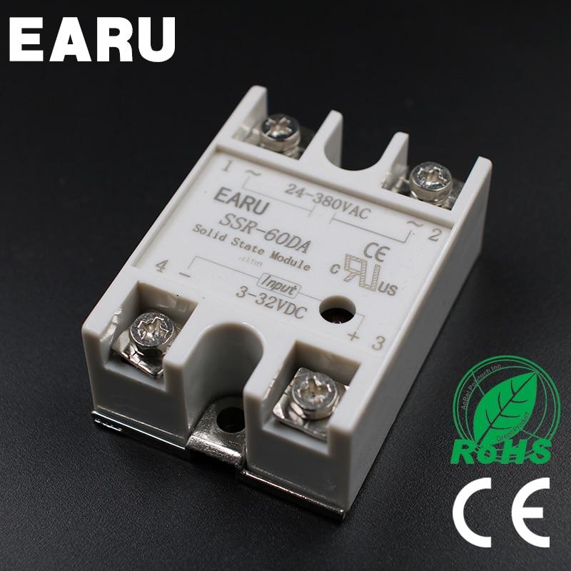SSR-60DA 60A 3-32VDC to 24-380VAC Solid State Relay good quality SSR-60 DA for PID Temperature Controller Voltage Transformer