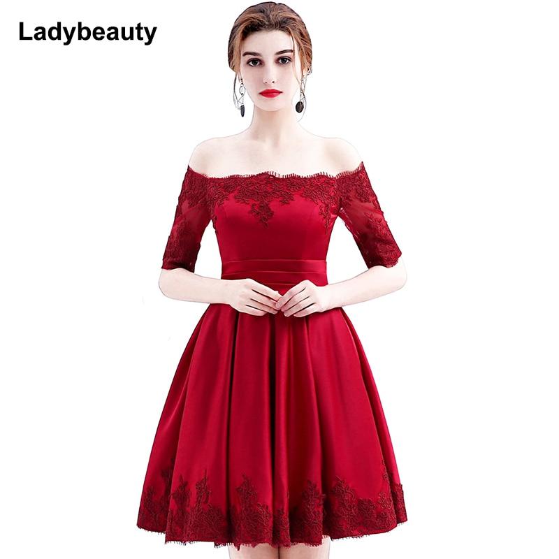 فستان سهرة فاخر مطرز بالدانتيل الأحمر الخمري من Ladybeauty 2017 فستان سهرة قصير نصف كم أنيق للحفلات الراقصة فستان سهرة