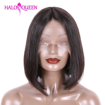 HALOQUEEN Bob Lace Wig Natural Hair Straight Brazilian Short Bob Wigs 6-16 inch Pre-Plucked Hairline Lace Closure Wigs