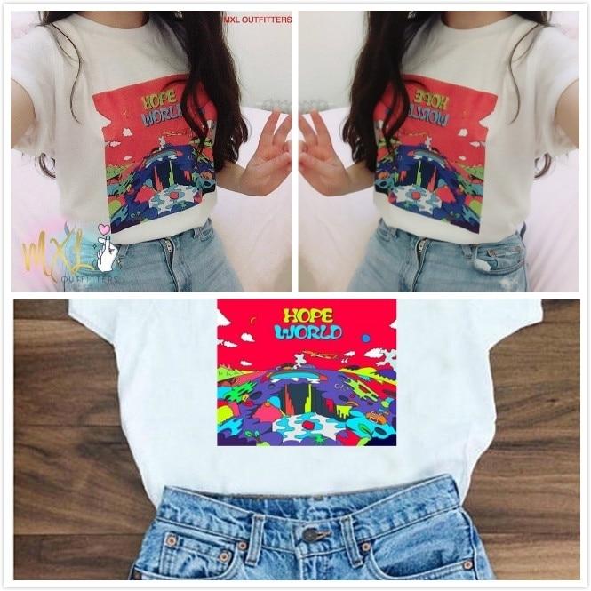 Hahayul1PCS camiseta blanca Cool Fashion Hope World j-hope Mixtape Hixtape/BTS Kpop camiseta Camiseta de manga corta Top Tee algodón