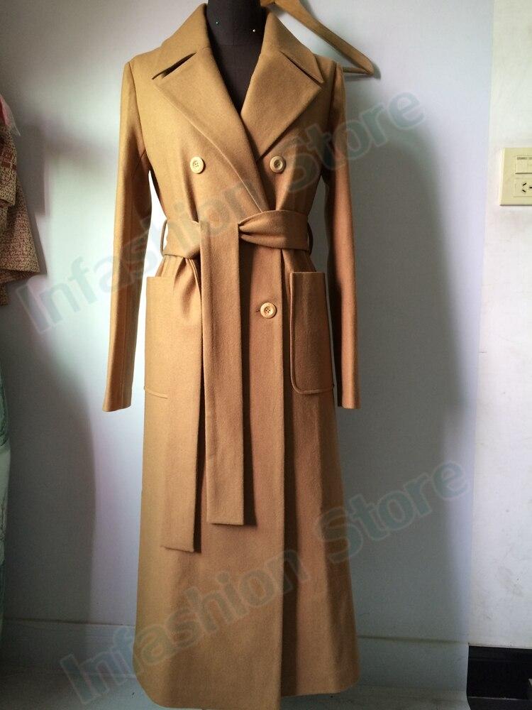 X-Long Wool Peacoats With Belt Autumn Winter 2018 New Slim Elegant Womens Camel Wool Trench Coats 2018 autumn Spring coat women