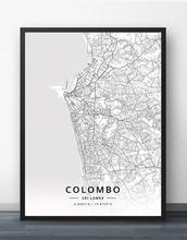 Colombo-affiche de carte Sri Lanka   Affiche de carte