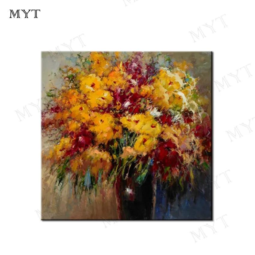 MYT משלוח חינם מודרני מופשט צהוב פרחי ציור קיר אמנות בד בעבודת יד ציור שמן על בד עבור בתי מלון