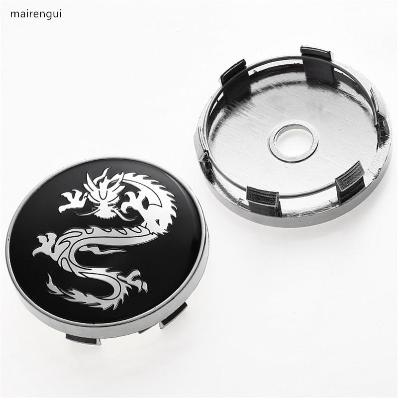 4PCS black Chinese dragon 60mm wheel hub cap car modified ABS wheel hub center cover for alfa romeo honda hyundai nissan hubcaps