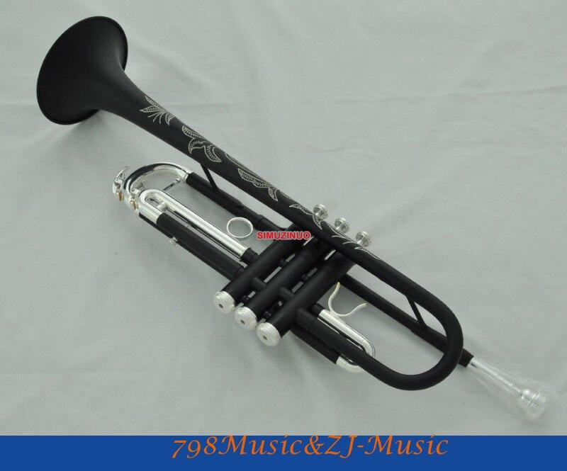 Nuevo en mate negro BB trompeta válvula Monel cuerno grabado + funda