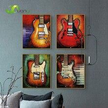 Impressions de toile pour guitare   4 panneaux, peinture à lhuile, Art mural, Instrument de musique, décoration murale, photos pour salon