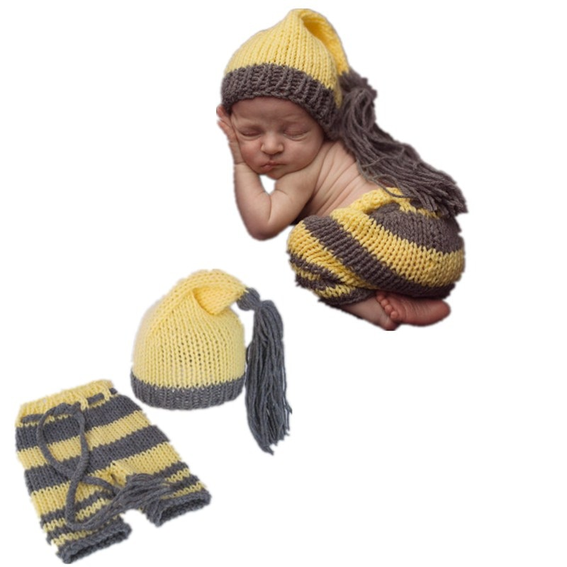 Free shipping Hand-made by fashion cute baby boy and girl l long tail cap newborn photography clothes pants yellow and gray suit