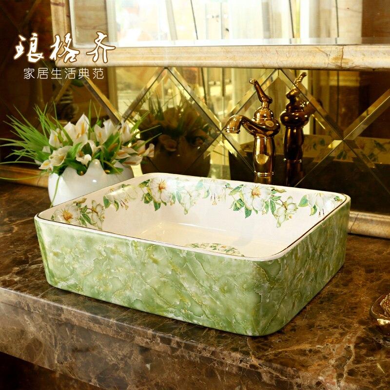 Bacia cerâmica quadrada da lavagem do banheiro, mármore do jasmim da bacia da arte