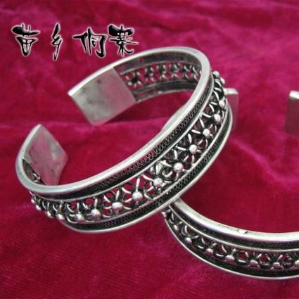 Hmong joyería estilo étnico hecho a mano Miao plata hueca seda flor pulsera