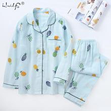 2019 New Japanese Simple Long Sleeve Pyjamas Women 100% Cotton Pajama Sets Ladies Cute Cartoon Sleepwear Winter Women's Homewear