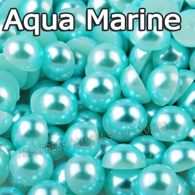 Полукруглый бисер цвета морской волны, смешанный размер 2 мм 3 мм 4 мм 5 мм 6 мм 8 12 мм, имитация АБС-пластика с плоской задней жемчужиной, аксессуары для дизайна ногтей своими руками