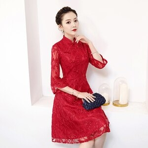 S-4XL Dark Red Knee Length Cheongsam Vintage Chinese style Dress Womans Lace Qipao Slim Party Dresses Button Vestido Plus Size