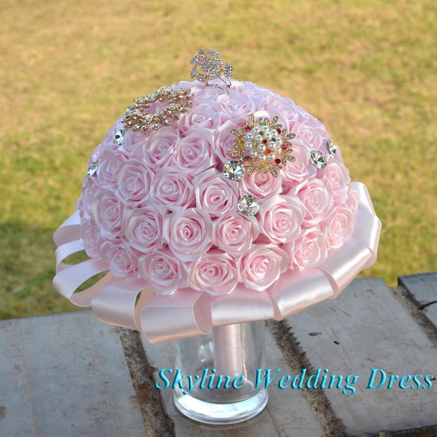 Fotos reales, flores de boda increíbles, ramos de novia de dama de honor rosa claro, joya artificial, ramo de boda de diseño