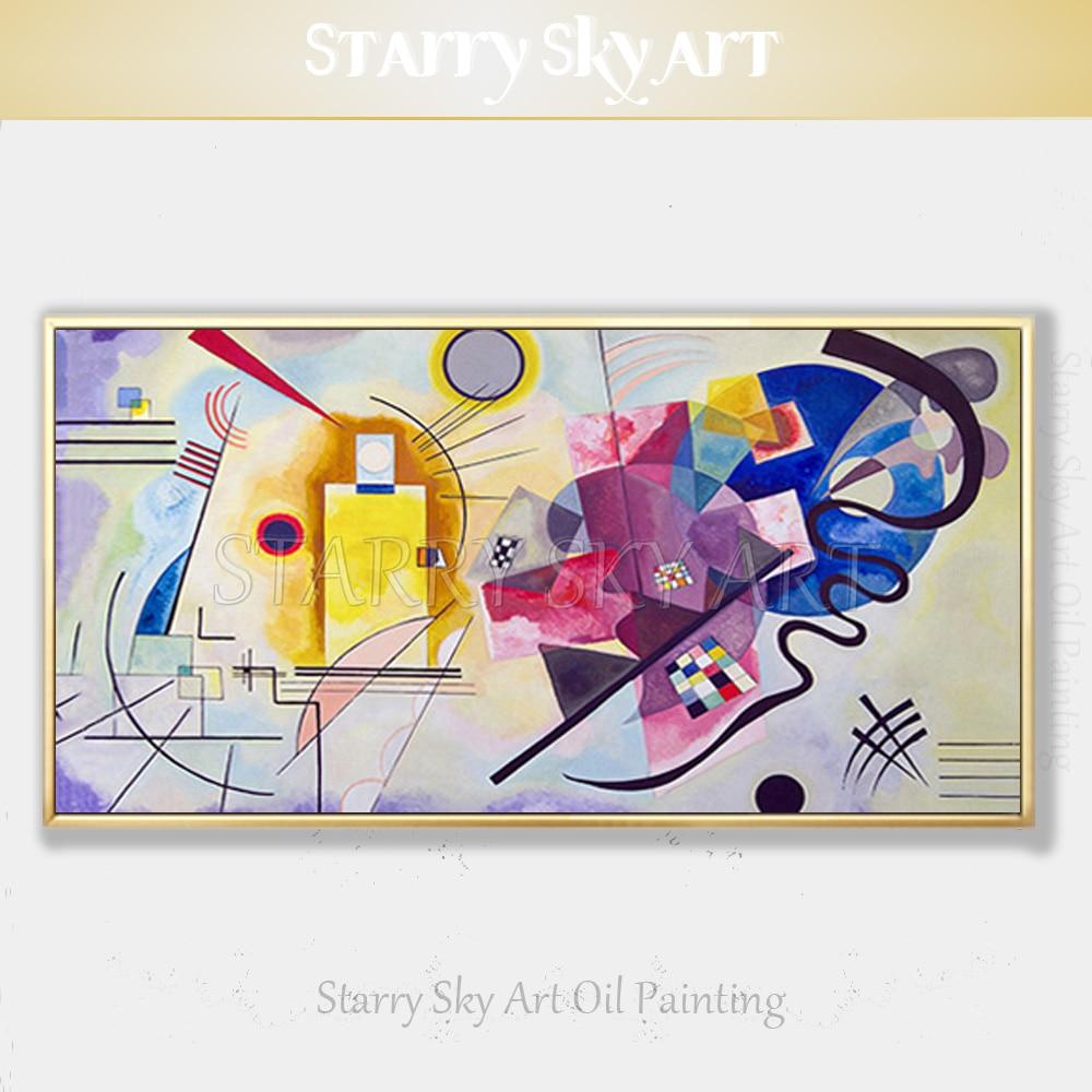 Excelente artista pintado a mano, gran calidad, pintura al óleo abstracta Kandinsky sobre lienzo, reproducción de pintura abstracta artística rusa