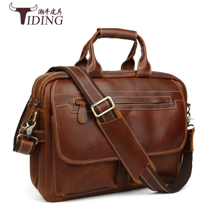 men briefcase cow leather laptop vintage briefcases handbags brands genuine man shoulder crossbody file bag