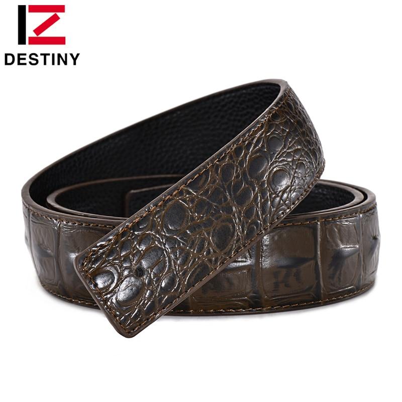 DESTINY Designer Belt Men No Buckle High Quality Male Genuine Leather Strap Luxury Belt Without Buckle Wide 3.8cm Ceinture Homme