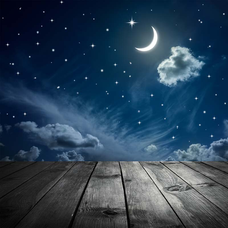 5X7ft Vinyl Photography Background moon and wooden floor Starry sky night scene Children Backdrops for photo studio F-2748
