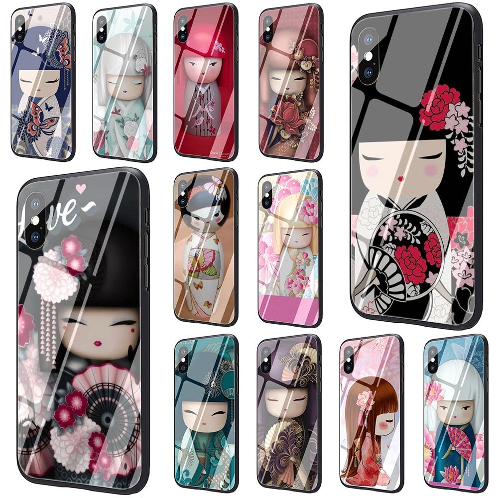 Kawaii japonés Kokeshi muñeca de vidrio templado funda de teléfono para iphone SE 2020 5 5S 6 6S Plus 7 8 Plus X XS XR 11 Pro Max