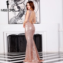 Missord 2020 Sexy  sleeveless backless chian sequin maxi dress FT6860