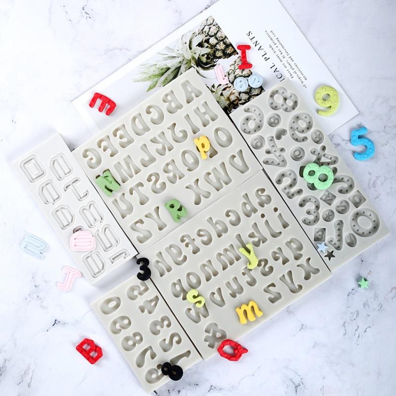 Molde de silicona con letras y números, molde para Fondant, herramientas para decoración de tartas, Chocolate, molde de pasta de goma, Sugarcraft, utensilios de cocina