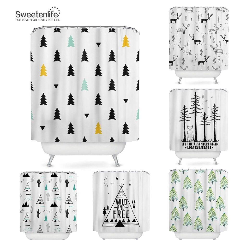 Sweetenlife, cortinas de ducha impermeables de poliéster, cortina de baño, Navidad, venta al por mayor, cortinas de baño 180x180 + ganchos, envío directo