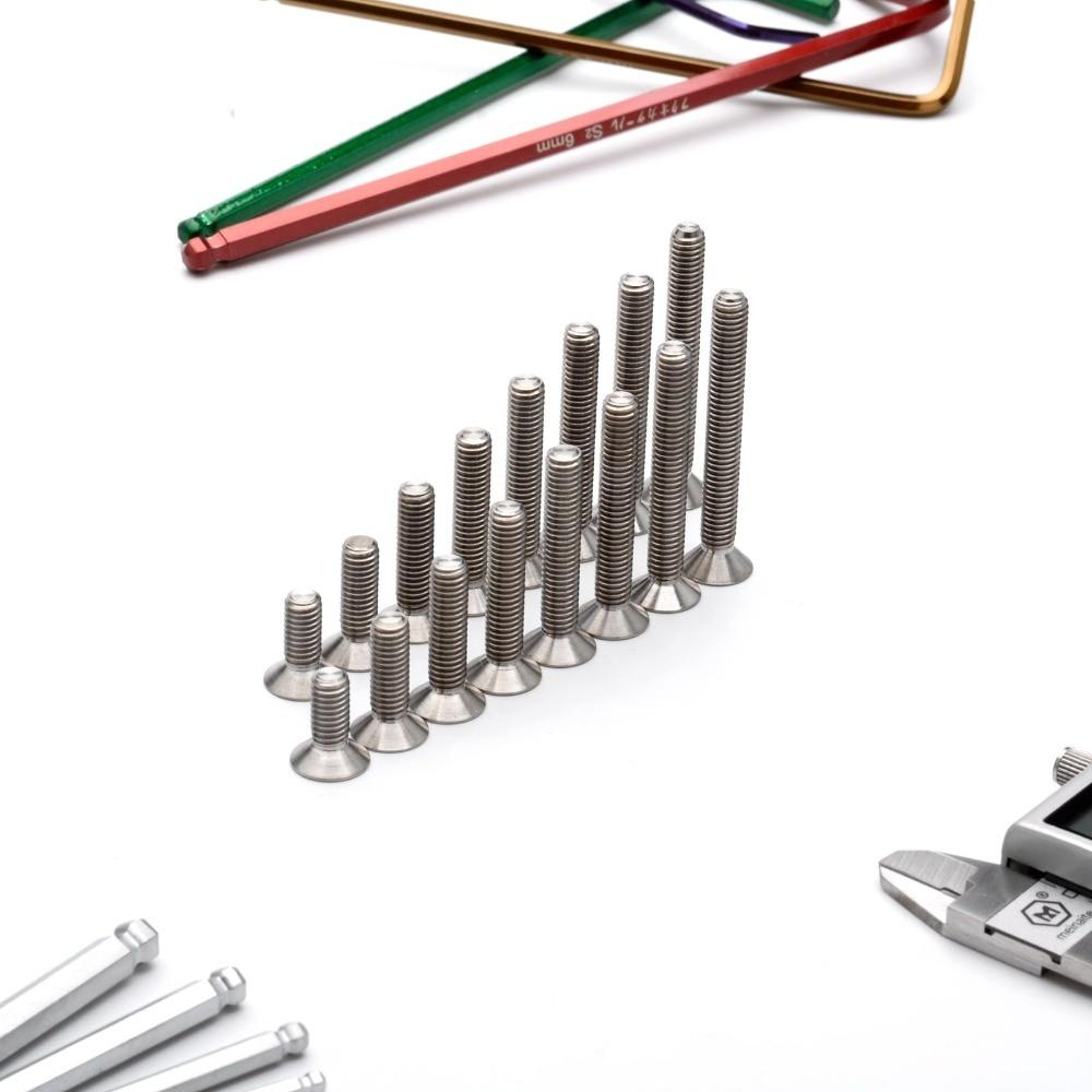 TonKing Titanium Screws GR5/TC4 Fastener Metric Titanium DIN7991 M6 Countersunk head hex bolt 1 pcs